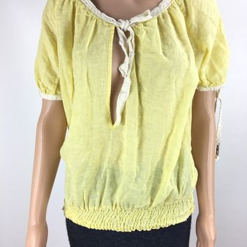Free People Key Hole Front Peasant Blouse Women's Yellow Linen Blend Small Q116