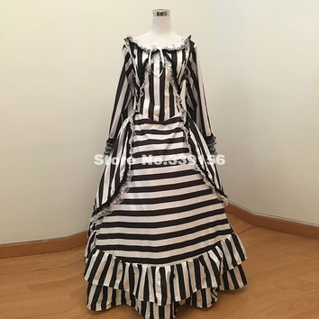 Brand New Black And White Striped Civil War Gothic Victorian Steampunk Dress Southern Bell Bustle Ball Gown For Party Plus Size