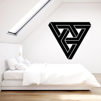 Vinyl Wall Decal Optical Illusion Triangles Geometric Elemen Stickers (2571ig)