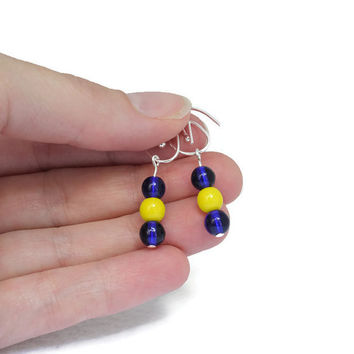Game Day Gear for Women - Cheerleader Jewelry Gifts - Hockey Team Colors - Blue Earrings for Women - Colored Earrings - STL Blues Hockey