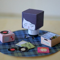 Sad Mona and her record collection - DIY paper craft 3D doll scene