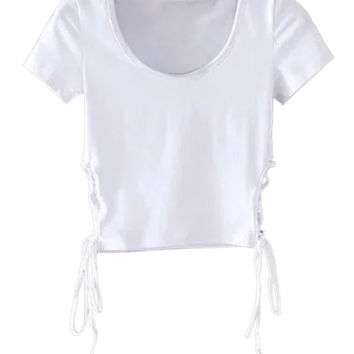 White Side Lace Up Detail Short Sleeve Cropped T-shirt
