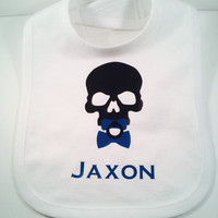 Skull Bib, Skull with Binki Bib, Birthday Bib, Baby boy bibs, Infant bib, Personalized bibs, Baby boy gifts