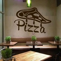 Wall Decal Vinyl Sticker Decals Art Decor Design Pizza interior Pizzeria Resaurant Italy Kitchen Food inscription signboard Fun M1527