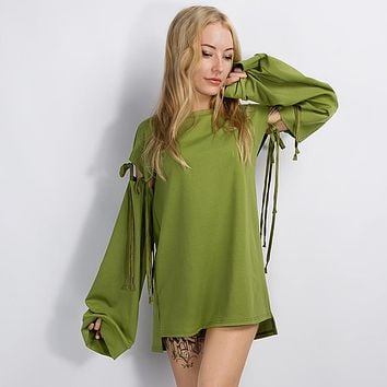 Women Top Long Sleeve Green Sweatershirt [11853605199]