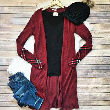 Burgundy with Plaid Accent Cardigan