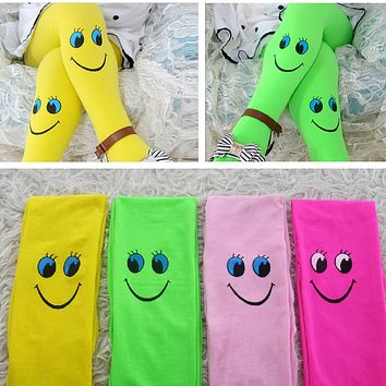 Multi-Colors Girls Tights Kids Novelty Cartoon Cute Smile Stockings Baby Soft Velvet Ballet Pantyhose Princess Knee High Socks
