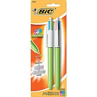 BIC ® 4-Color Retractable Ballpoint Pen, 1 mm Medium, Assorted, Lime Green Barrel, 2/Pack