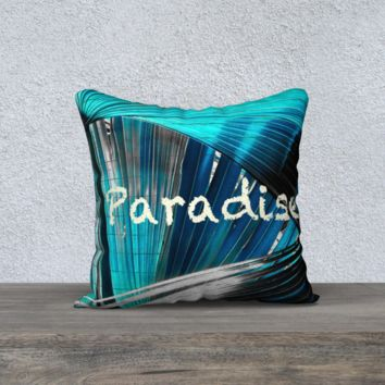 "Turquoise Blue Paradise Palm Frond Parrot Feather Pillow 18"" x 18"""