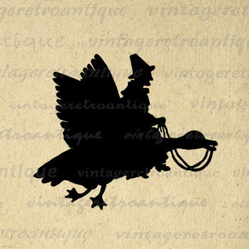 Digital Image Mother Goose Silhouette Graphic Download Printable Vintage Clip Art for Transfers Making Prints etc HQ 300dpi No.2178