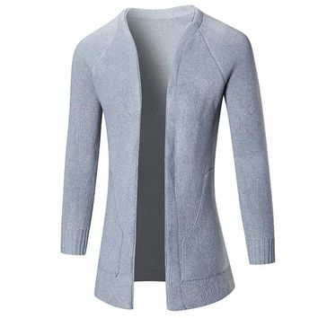 O Neck Collar Sweater Men Slim Fit Mens Knitted Cardigans Sweaters Autumn Elegant Solid Male Cardigan Coat