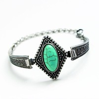 Vintage Boho Style Turquoise and Sterling Silver Bracelet