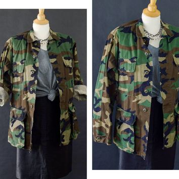 Vintage Camouflage Jacket, US Army Field Jacket, Camo Army Coat, Distressed Camouflage Jacket, 90s Grunge Jacket Unisex Size X Small-Regular