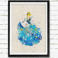 Cinderella Disney Watercolor Art Print, Princess Room Wall Poster, Baby Nursery Wall Art, Home Decor Not Framed, Buy 2 Get 1 Free!