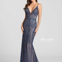 Ellie Wilde EW118024- Navy Blue/Nude