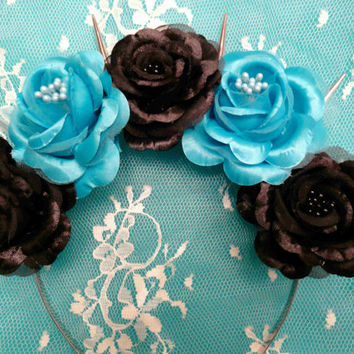 Goth flower crown spikes: Corpse Bride-Pastel Goth Flower Crown//Goth Flower Crown