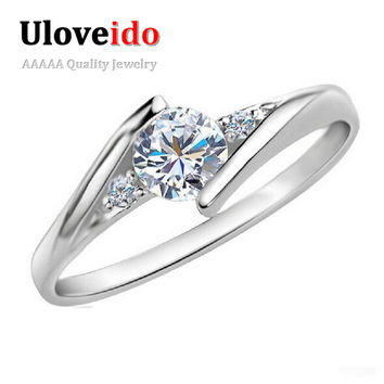 White Gold Plated Wedding Jewelry Rings for Women Crystal Engagement Silver Zircon CZ Diamond Ring Rose Gold Anillos Ulove J045