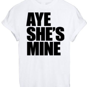 AYE HE#039;S SHE#039;S MINE MICKEY MOUSE HAND PRINTED t shirt Top Tee size XS S M L XL - WHITE