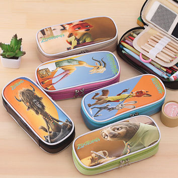 Zootopia  Cute Color Print Leather Pencil case holder stationery Storage Organizer student gift bag Office pouch