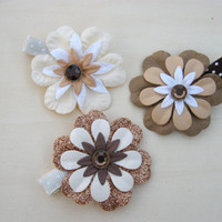 Hair Clip Set, Easter 3 Piece Paper Flowers, Neutral Color, Glitter with brad centerpiece