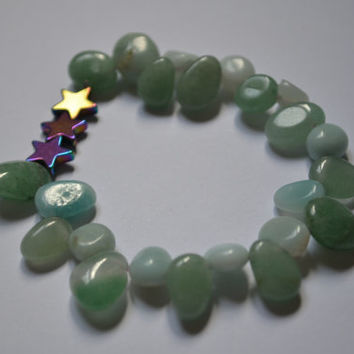 Amazonite, Aventurine and Hematite elasticated bracelet ||FREE hand-drawn sticker||