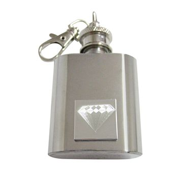 Silver Toned Etched Diamond 1 Oz. Stainless Steel Key Chain Flask