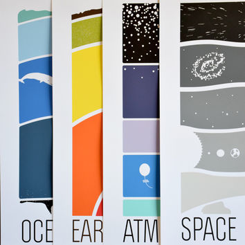 Earth Science Collection / Set of 4 Prints