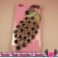 XL PURPLE PEACOCK Crystal Covered Gold Alloy Bird Decoden Cabochon Cellphone Decoration