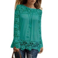 Yonger Women's Chiffon Lace Crochet Long Sleeve Casual Shirt Blouse Tops
