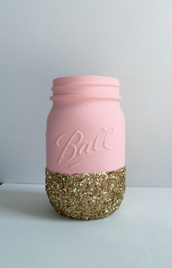 Perfect Makeup For Wedding Party : Gold Glitter Mason Jar- Pale Pink. from JessCathDesigns on ...