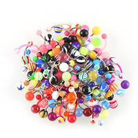 ZGY 100pcs Mix Pack Stripes Ball Curved Belly Button Bar Navel Ring Barbell Body Piercing