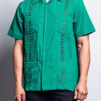 Men's Short Sleeve Cuban Style Guayabera Shirt 2000-1 (Sage/Mint)