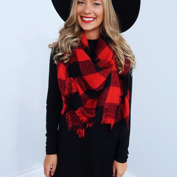 All The Cuddles Blanket Scarf: Red/Black