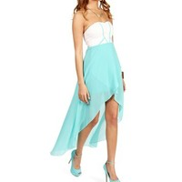 Pre-Order: Mint Strapless Sweetheart Hi Lo Dress