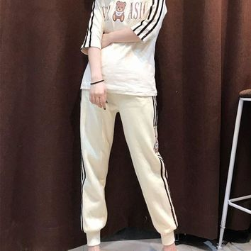 CUPCUPST Moschino' Women Casual Fashion Sequin Stripe Letter Cartoon Bear Print Middle Sleeve Turtleneck Sweater Trousers Set Two-Piece Sportswear