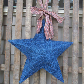 Blue Star - Americana Wreath - Colonial Wreath - Patriotic Wreath -   Door  Wreath -  Star  Wreath- Star Door Greeter