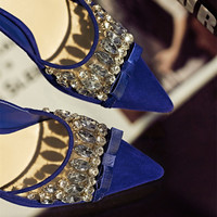 Summer Rhinestone Butterfly Pointed Toe High Heel Shoes [4919872964]