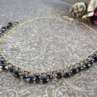 Gold Filled Smoky Quartz Briolette Chain Necklace