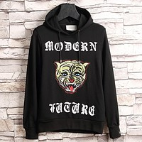 GUCCI Casual Fashion Embroidery Long Sleeve Hooded Pullover Sweater Tops Hoodie