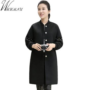 Wmwmnu Wool Coat women Winter Warm Thicken A single Breasted Coats Loose European Long Designe Women cocoon coats ls362a