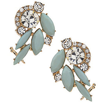 Natasha Ear Cuff Earrings - Mint/Crystal