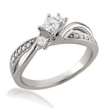 3/8 CT. T.W. Princess-Cut Diamond Three Stone Split Shank Engagement Ring in 14K White Gold - Save on Select Styles - Zales