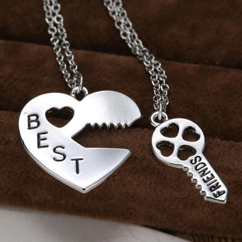 Vintage Puzzle  Pendant Necklace Handstamped Best Friends Jewelry Key&Heart Charms Couple Friendship Necklaces Pendants Engraved-Christmas gifts