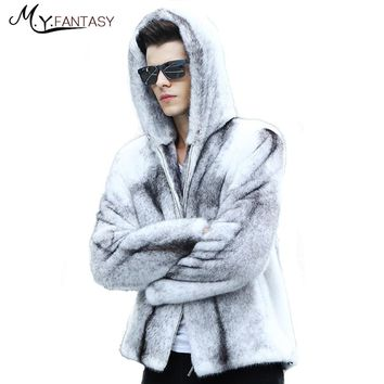 M.Y.FANSTY Shuba 2017 Cross Winter Stand Collar Mink Coat Zipper White Real Fur Jacket Warm Cool Man With Hat Solid Mink Coats