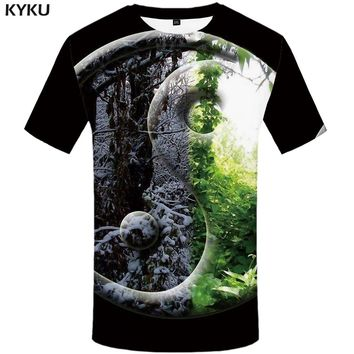 KYKU Forest T-shirt Men Snow Leaf Tshirt Punk Rock Clothes Yin Yang 3d Print T Shirt Cool Hip Hop Mens Clothing Streetwear Tops