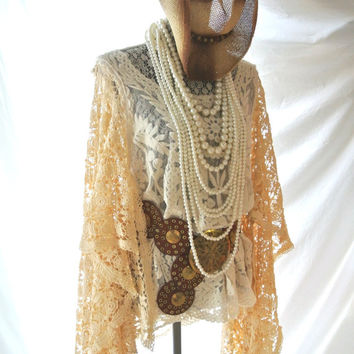 Boho chic top, bohemian crochet Stevie Nicks style, Gypsy tunic, Boho clothing, Angel sleeve cowgirl shirt, coachella, true rebel Clothing
