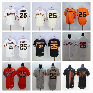 New SF 25 Barry Bonds Jersey Flexbase San Francisco Giants Throwback Baseball Jerseys 1989 Retro Cool Base White Gray Orange Cream Black