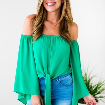 Forever Young OTS Tie Top in Emerald