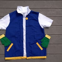 POKEMON Trainer  Ash Ketchum - COSPLAY  Costume - Men's Adult ~ 2 pc Jacket & Gloves