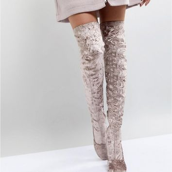 ASOS KATCHER Heeled Over The Knee Boots at asos.com